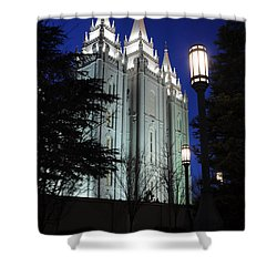 Salt Lake Mormon Temple At Night Shower Curtain by Gary Whitton