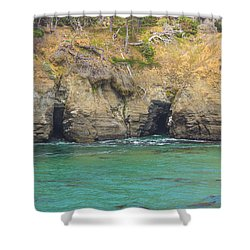 Salt Point Sea Caves Shower Curtain by Suzanne Luft