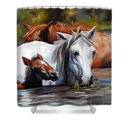 Salt River Foal Shower Curtain by Karen Kennedy Chatham