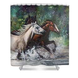 Salt River Horseplay Shower Curtain by Karen Kennedy Chatham