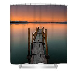 Salton Sea Dock Shower Curtain