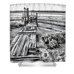 Salton Sea Dock Under Renovation By Diana Sainz Shower Curtain