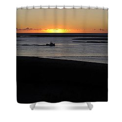 Salty Sunrise Shower Curtain by Luke Moore