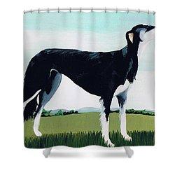 Saluki Cross Shower Curtain by Maggie Rowe