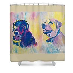Sammy And Toby Shower Curtain by Judy Via-Wolff