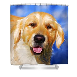 Happy Golden Retriever Painting Shower Curtain by Michelle Wrighton