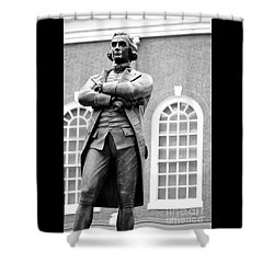 Samuel Adams Statue State House Boston Ma Black And White Shower Curtain