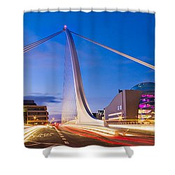 Shower Curtain featuring the photograph Samuel Beckett Bridge And National Conference Centre / Dublin by Barry O Carroll