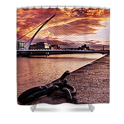 Shower Curtain featuring the photograph Samuel Beckett Bridge At Dusk - Dublin by Barry O Carroll