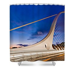 Shower Curtain featuring the photograph Samuel Beckett Bridge At Night / Dublin by Barry O Carroll