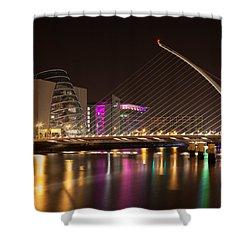 Samuel Beckett Bridge In Dublin City Shower Curtain