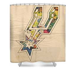 San Antonio Spurs Logo Art Shower Curtain by Florian Rodarte