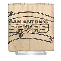 San Antonio Spurs Logo Vintage Shower Curtain by Florian Rodarte
