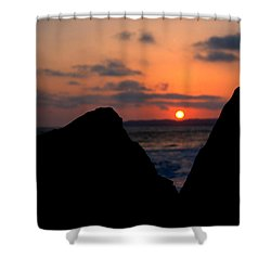 San Clemente Rocks Sunset Shower Curtain by Matt Harang