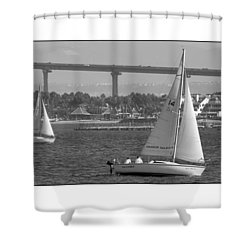 Shower Curtain featuring the digital art San Diego Bay Sailing 1 by Kirt Tisdale