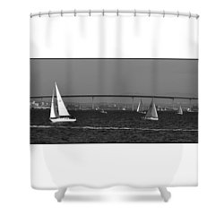 Shower Curtain featuring the digital art San Diego Bay Sailing 2 by Kirt Tisdale
