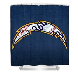 San Diego Chargers Football Team Retro Logo California License Plate Art Shower Curtain