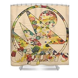 San Diego Clippers Retro Poster Shower Curtain by Florian Rodarte