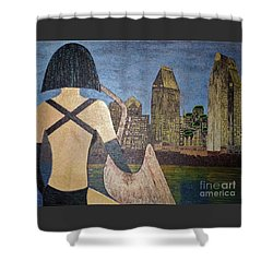 Shower Curtain featuring the painting San Diego Night by Jasna Gopic