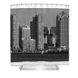 Shower Curtain featuring the digital art San Diego Skyline by Kirt Tisdale