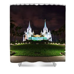 San Diego Temple Shower Curtain by Eddie Yerkish