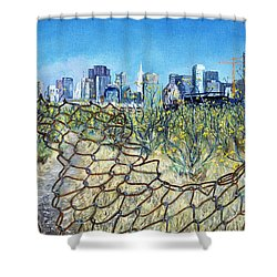Shower Curtain featuring the painting San Francisco And Flowery Vagabond Path Of Yesterday by Asha Carolyn Young