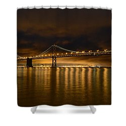 San Francisco - Bay Bridge At Night Shower Curtain