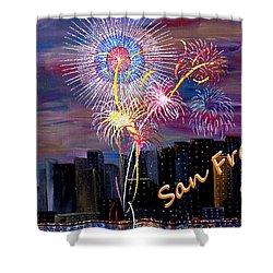 San Francisco Bay City Celebration Shower Curtain by Mark Moore