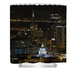 San Francisco Cityscape With City Hall At Night Shower Curtain by David Gn