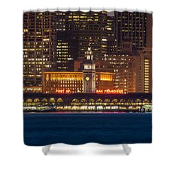 San Francisco Ferry Building At Night.  Shower Curtain