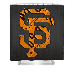 San Francisco Giants Baseball Vintage Logo License Plate Art Shower Curtain by Design Turnpike