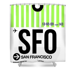 San Francisco Luggage Tag Poster 2 Shower Curtain