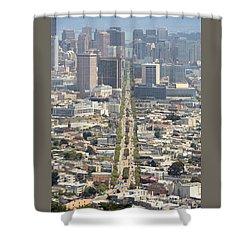 San Francisco - Market Street - Castro To Embarcadero Shower Curtain by Daniel Furon