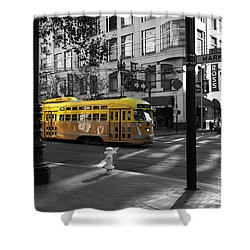 San Francisco Vintage Streetcar On Market Street - 5d19798 - Black And White And Yellow Shower Curtain