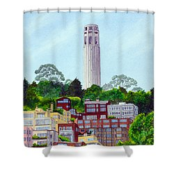 San Francisco's Coit Tower Shower Curtain by Mike Robles