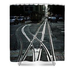 Shower Curtain featuring the photograph San Francisco Silver Cable Car Tracks by Georgia Mizuleva