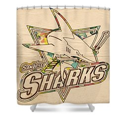 San Jose Sharks Vintage Poster Shower Curtain by Florian Rodarte
