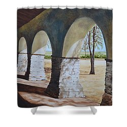 San Juan Bautista Mission Shower Curtain by Mary Rogers