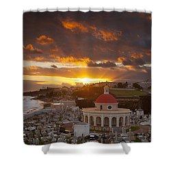 San Juan Sunrise Shower Curtain by Brian Jannsen