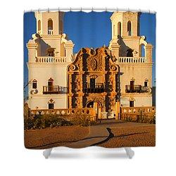 San Xavier Mission Shower Curtain by Mike  Dawson