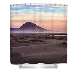 Sand Dunes At Sunset At Morro Bay Beach Shoreline  Shower Curtain by Jerry Cowart