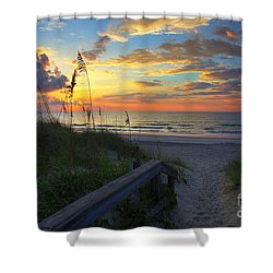 Sand Dunes On The Seashore At Sunrise - Carolina Beach Nc Shower Curtain