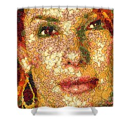Shower Curtain featuring the digital art Sandra Bullock In The Way Of Arcimboldo by Dragica  Micki Fortuna
