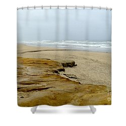 Sandy Beach Shower Curtain by Carla Carson