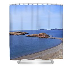 Sandy Beach - Little Island - Coastline - Seascape  Shower Curtain by Barbara Griffin