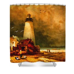 Sandy Hook Lighthouse - After Moran Shower Curtain
