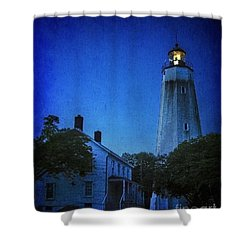 Shower Curtain featuring the photograph Sandy Hook Lighthouse At Twilight by Debra Fedchin