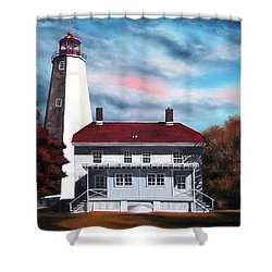 Sandy Hook Lighthouse Shower Curtain