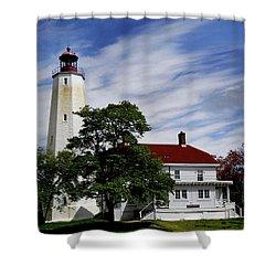 Sandy Hook Lighthouse Nj Shower Curtain by Skip Willits
