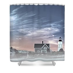 Sandy Neck Lighthouse Shower Curtain by Susan Candelario